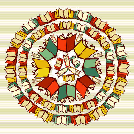 Back to School books education mandala. Vector