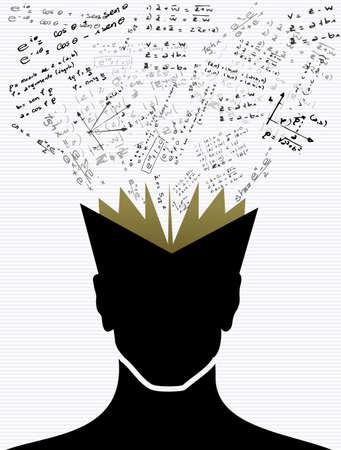 woman back of head: Back to School nero scienza elementi educazione libro testa umana.