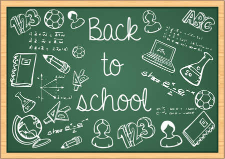 Back to School education icons over green chalkboard background.  Vector