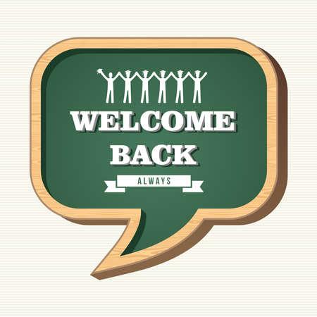 Back to school social media speech bubble wood chalkboard, people icons illustration.
