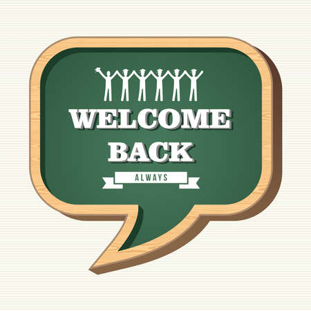 Back to school social media speech bubble wood chalkboard, people icons illustration. Vector