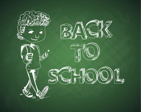 Back to school green chalkboard with cartoon kid.  Vector