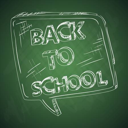 Back to school green chalkboard with social media speech bubble.  Vector