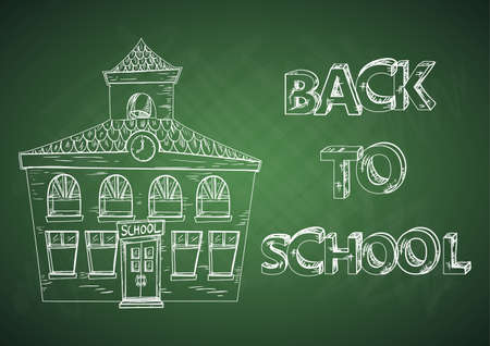 Back to school green chalkboard with school building. Vector