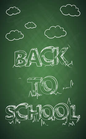 Back to school green chalkboard clouds and text illustration.  Vector