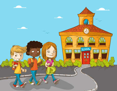 classroom supplies: Volver a la escuela de ni�os de dibujos animados a pie de ilustraci�n la educaci�n escolar.