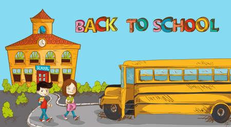 classroom supplies: Educaci�n a la escuela colorido edificio, autob�s escolar y un par de dibujos animados los ni�os.