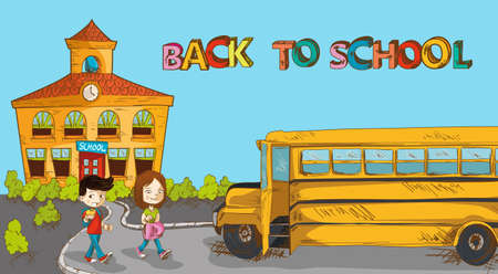 Education back to school colorful building, school bus and a couple of kids cartoon illustration.  Vector