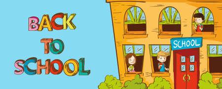 Back to School onderwijs school huis met kinderen binnen cartoon illustratie.