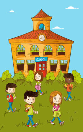 Education cartoon kids walking back to school illustration.