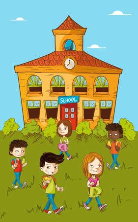 classroom supplies: Ni�os de dibujos animados de educaci�n caminar de regreso a la ilustraci�n de la escuela. Vectores