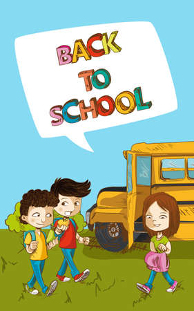 classroom supplies: Education cartoon kids walking from school bus back to school text social media speech bubble.