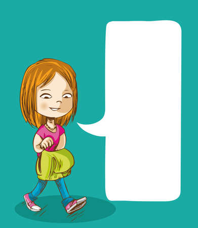 Education cartoon girl walking back to school with social media speech bubble.  Vector