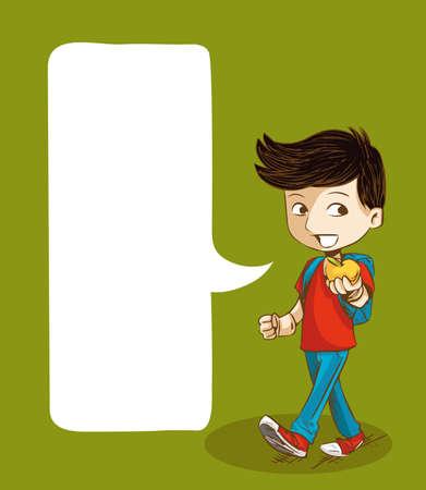 classroom supplies: Muchacho de la historieta Educaci�n caminando de regreso a la escuela con bocadillo de medios sociales. Vectores