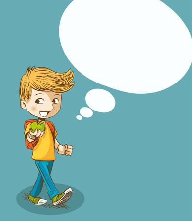 Back to school cartoon education boy walking with social media speech bubble.  Vector