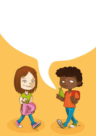 Education cartoon kids walking back to school with social media speech bubble.  Vector