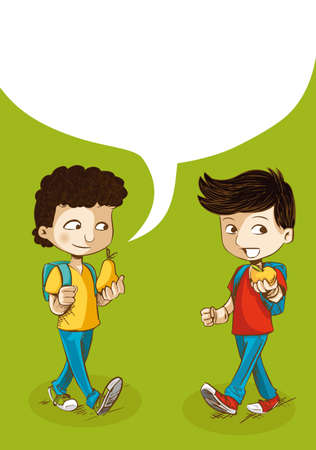 Education cartoon kids walking back to school with food and social media speech bubble.  Vector