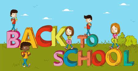 Back to school text cartoon kids walking to school education illustration.  Vector