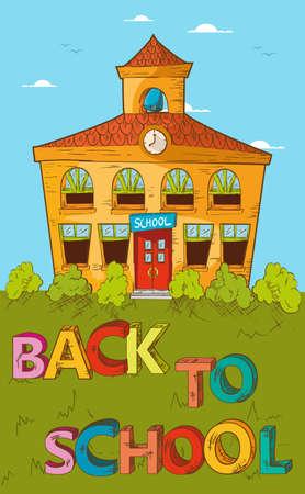 patio escuela: Dibujos animados educaci�n posterior a la escuela edificio de la escuela hermosa con el cielo azul y verde jard�n. Vectores