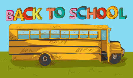 school yard: Education cartoon back to school beautiful school bus with blue sky and green yard.