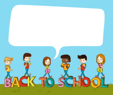 back yard: Education cartoon kids over back to school text with social media speech bubble. Illustration