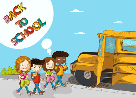 Education cartoon kids walking back to school bus with text with social media speech bubble.  Vector