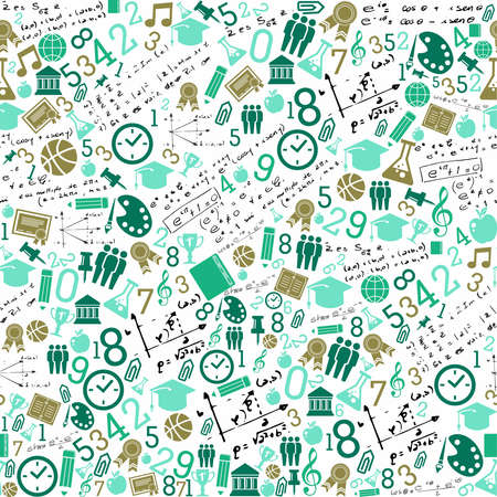 supplies: Back to School green icons education seamless pattern background.