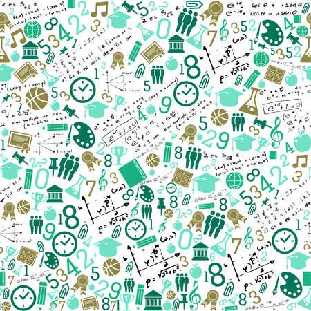 számok: Back to School zöld ikonok oktatás zökkenőmentes mintás háttérrel.