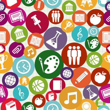 music education: Education colorful icons back to school seamless pattern background.