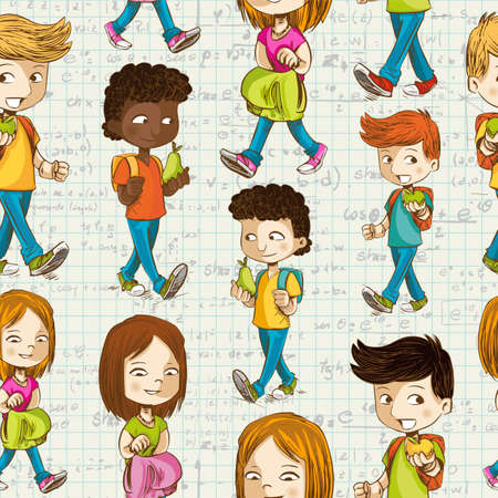 Education colorful cartoon kids back to school seamless pattern background.  Vector