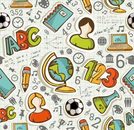 Education colorful icons back to school seamless pattern background illustration.  Vector