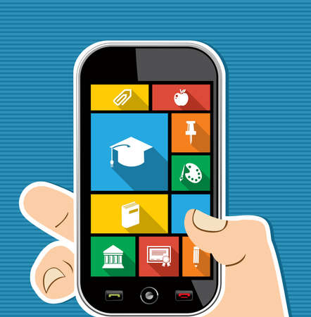 Back to school human hand holds a smart phone internet applications graphic user interface flat icons set. Vector layered for easy editing. Vector