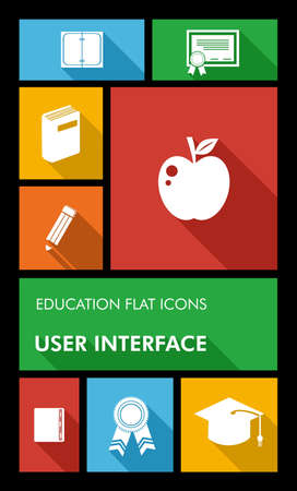 computer education: Back to school mobile applications graphic user interface flat icons set education concept. Vector layered for easy editing.
