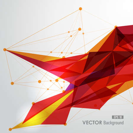 networks: Modern red and yellow network transparent triangles abstract background illustration. vector with transparency organized in layers for easy editing.