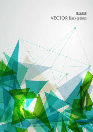 transparency: Modern blue and green network transparent triangles abstract background illustration.  vector with transparency organized in layers for easy editing.