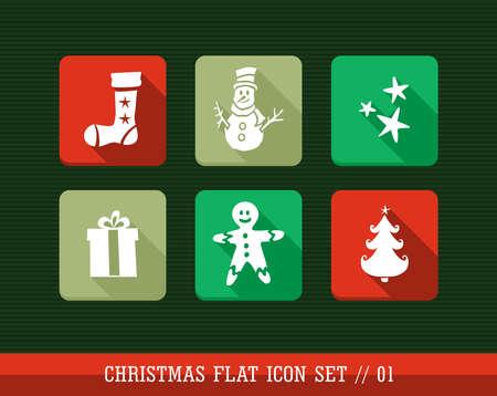 Joyeux Noël coloré internet app plat jeu d'icônes. le fichier posé pour la personnalisation facile. Banque d'images - 21599977