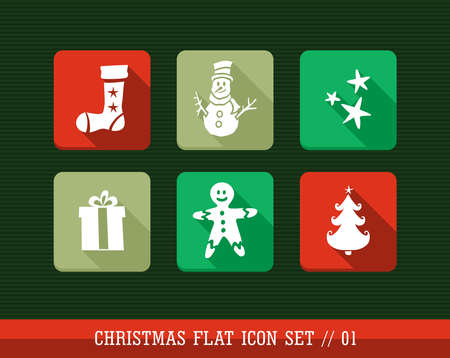 Merry Christmas colorful internet app flat icon set. Vector file layered for easy personalization. Stock Vector - 21599977