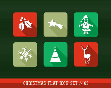 Merry Christmas colorful internet app flat icon set. Vector file layered for easy personalization. Stock Vector - 21599981