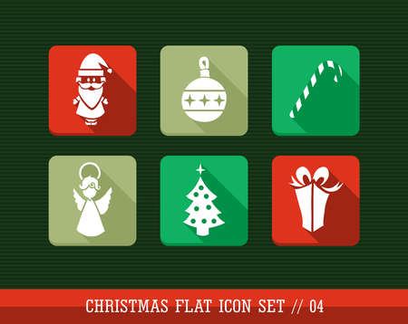 Merry Christmas colorful internet app flat icon set. Vector file layered for easy personalization. Vector