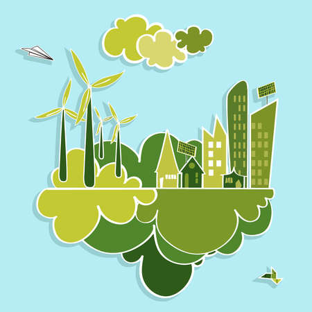 renewable: Eco friendly green city trees, buildings, houses, wind turbines and green clouds illustration. Vector layered for easy editing.