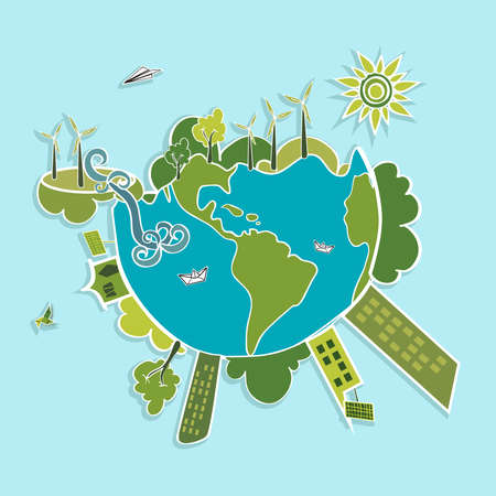 planet: Eco global green planet earth, trees, continents, wind turbines and green sun illustration. Vector layered for easy editing.