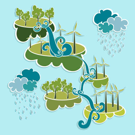 Renewable resources green, trees, clouds, rain, wind turbines and curly waterfall illustration. Vector layered for easy editing. Vector