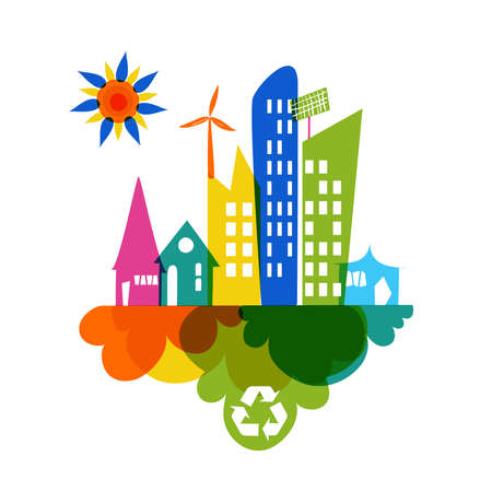 solarpower: Go green colorful city. Industry sustainable development with environmental conservation background illustration. Vector file layered for easy editing. Illustration