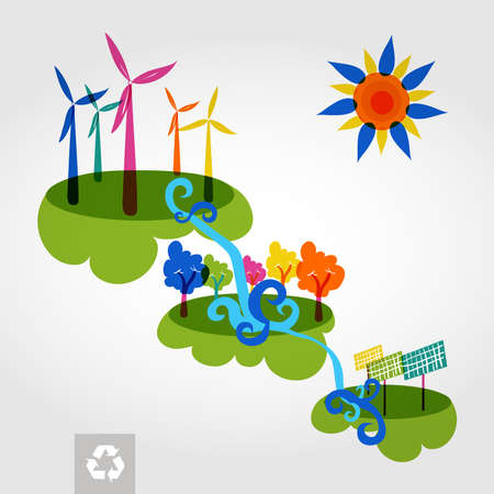 Go green colorful city wind turbines, trees and solar panels. Industry sustainable development with environmental conservation background illustration. Vector file layered for easy editing. Vector