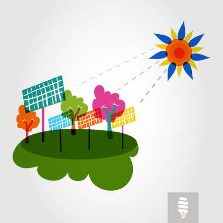 solarpower: Go green colorful city sun, solar panels and trees. Industry sustainable development with environmental conservation background illustration. Vector file layered for easy editing. Illustration