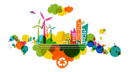 Go green colorful city. Industry sustainable development with environmental conservation background illustration. Vector file layered for easy editing. Çizim