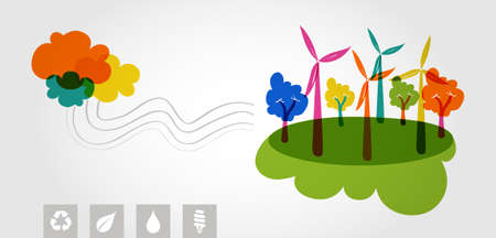 Global transparent silhouettes colorful clouds, wind turbines and trees eco friendly resources icons illustration. Vector layered for easy editing. Vector