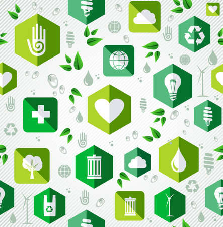 Green eco friendly flat icons seamless pattern background. Vector file layered for easy editing. Vector