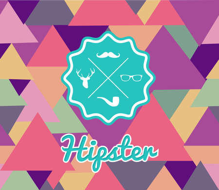 Unusual vintage Hipster badge icons elements seamless pattern background. Vector file layered for easy editing. Vector