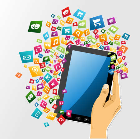 electronic tablet: Human hand holds electronic tablet computer applications icons set burst illustration. Vector file layered for easy personalization. Illustration